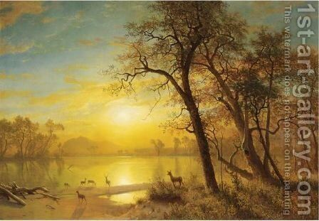Mountain Lake 3 by Albert Bierstadt - Reproduction Oil Painting