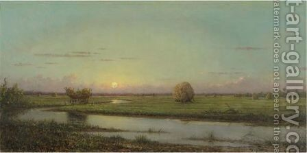 Sunset Over Newburyport Meadows by Martin Johnson Heade - Reproduction Oil Painting