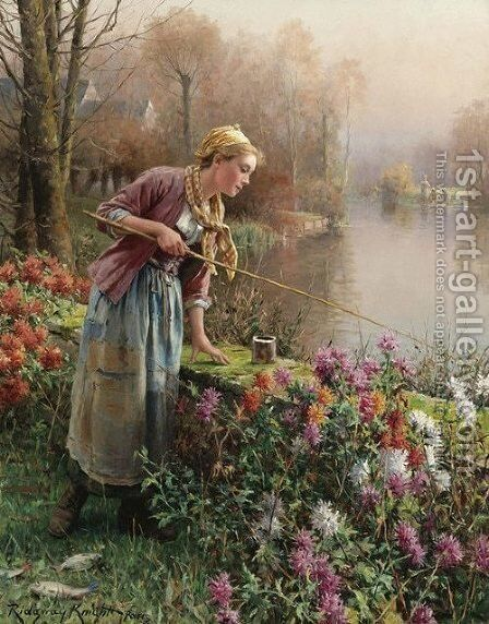 Brittany Girl Fishing by Daniel Ridgway Knight - Reproduction Oil Painting