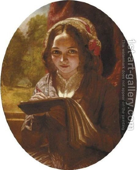 Portrait Of A Girl With A Notebook by Charles Baxter - Reproduction Oil Painting