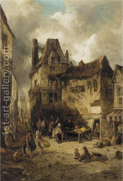 A Back Street, Rouen by Alfred Montague - Reproduction Oil Painting