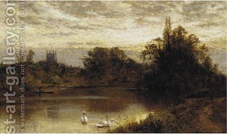 River With Swans by Alfred Glendening - Reproduction Oil Painting