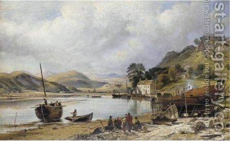 Shipbuilding At Penmaepool, Merioneth by Charles Tattershall Dodd - Reproduction Oil Painting