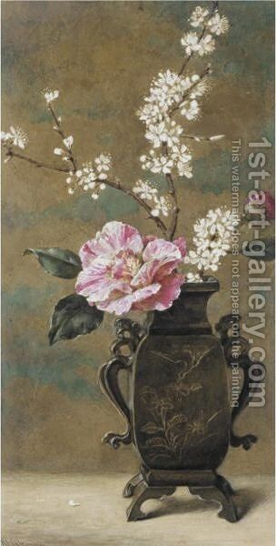 Still Life Of Pink Roses by Helen Cordelia Coleman Angell - Reproduction Oil Painting