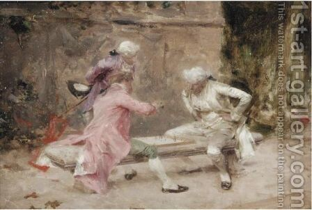 The Chess Players by (after) Giovanni Boldini - Reproduction Oil Painting