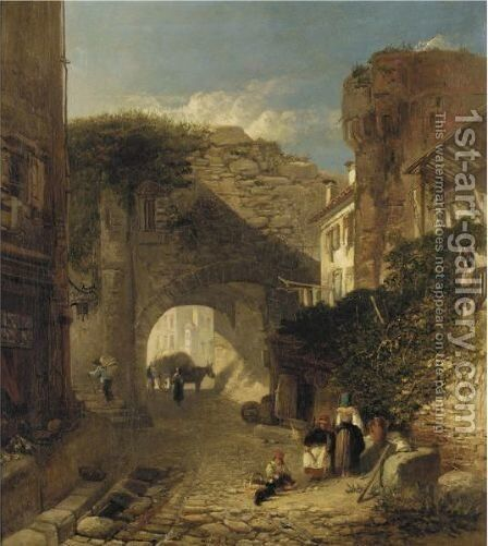 Street Scene, Verona by James Vivien de Fleury - Reproduction Oil Painting