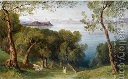 Corfu From The Village Of Ascension 2 by Edward Lear - Reproduction Oil Painting