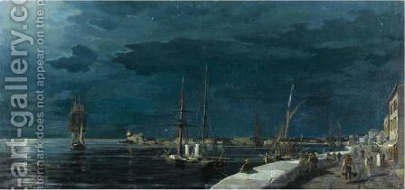 Volos Harbour At Night by Constantinos Volanakis - Reproduction Oil Painting