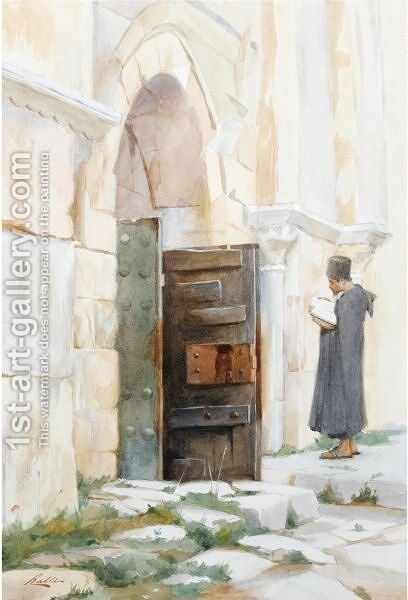 Entrance To The Virgin's Tomb, Jerusalem by Theodoros Rallis - Reproduction Oil Painting