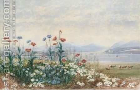 A Bank Of Wild Flowers With Cattle Grazing, A Lough And Castle Beyond by Andrew Nicholl - Reproduction Oil Painting