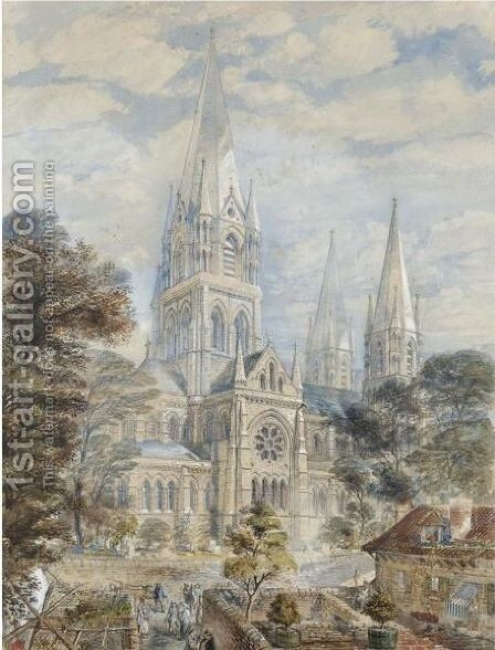 St Fin Barre's Cathedral, Cork by Axel Haig - Reproduction Oil Painting