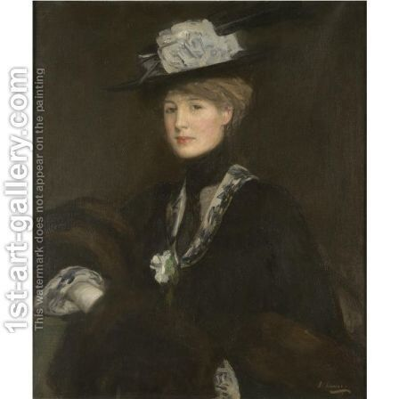 A Lady With Sables by Sir John Lavery - Reproduction Oil Painting