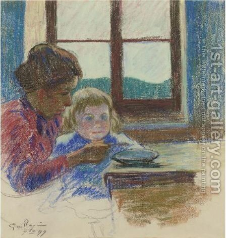 Madame Guillaumin Et Son Fils Andre by Armand Guillaumin - Reproduction Oil Painting