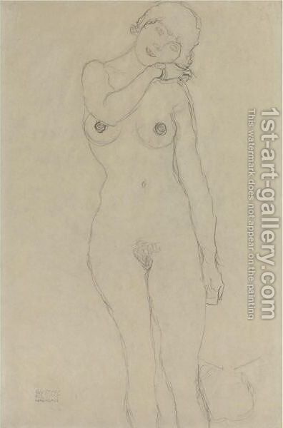 Stehend Von Vorne, Den Kopf Nach Rechts Geneigt (Standing Woman With Head Leaning Right) by Gustav Klimt - Reproduction Oil Painting