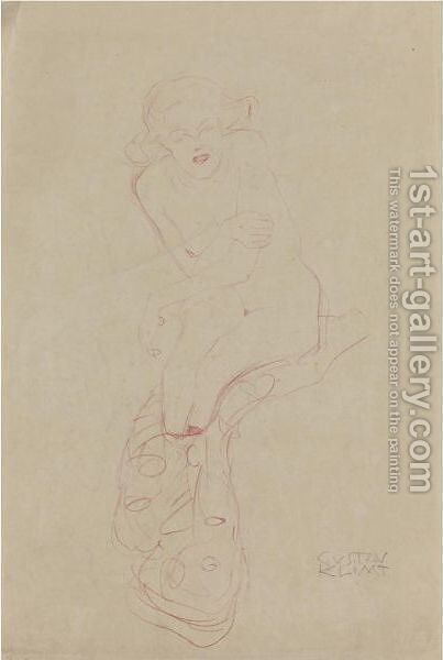 Sitzfrau (Seated Woman) by Gustav Klimt - Reproduction Oil Painting