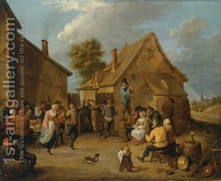 Peasants Dancing, Eating And Drinking Outside An Inn by (after)  David The Younger Teniers - Reproduction Oil Painting