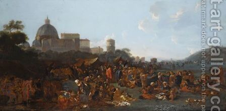 Figures Feasting At A Fair In Prati, Outside The Walls Of Rome, With The Basilica Di San Pietro And Monte Mario Beyond by Jan Miel - Reproduction Oil Painting