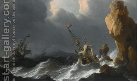 A Shipwreck In A Heavy Storm Along A Rocky Coast by Aernout Smit - Reproduction Oil Painting