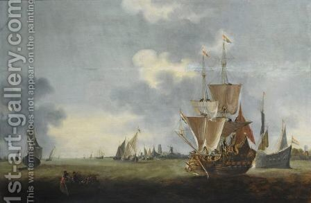 Merchantmen And Other Shipping Sailing Out Of The Harbour Of Dordrecht, A Ferry With Figures To The Left Foreground by (after) Hendrick De Meijer - Reproduction Oil Painting