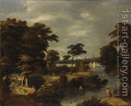 A Wooded River Landscape With Several Men Bathing, Travellers On A Path To The Left by Jan Looten - Reproduction Oil Painting