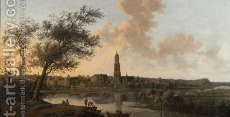 A Panoramic View Of Rhenen Seen From The West, Along The Bank Of The River Rhine by Anthony Jansz van der Croos - Reproduction Oil Painting