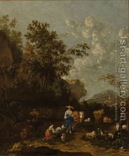 A Wooded Italianate Landscape With Shepherds, A Shepherdess Milking A Goat, Surrounded By Their Herd Of Cows by Jan Van Der Bent - Reproduction Oil Painting