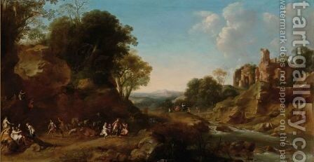 An Extensive Italianate Landscape With A Bacchanale, Other Bacchantes On A Bridge In The Background Near Ruins On A Hill by Dirck van der B Lisse - Reproduction Oil Painting