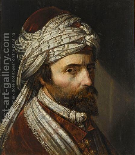 A Tronie Of A Man, Head And Shoulders, Wearing A Turban by Engel Jansz. Rooswijck - Reproduction Oil Painting