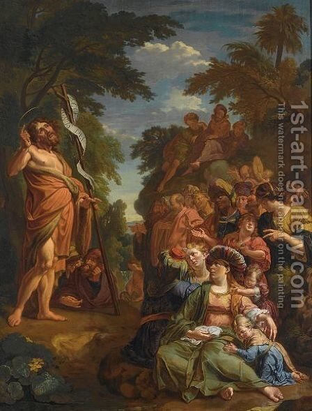 Saint John The Baptist Preaching In The Wilderness by (after) Jacques Ignatius De Roore - Reproduction Oil Painting