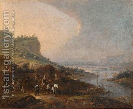 An Extensive River Landscape With A Horse-Drawn Cart Near A Tavern by (after) Jean Francois De Wouters - Reproduction Oil Painting