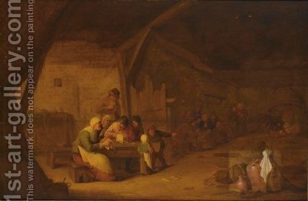 An Interior Of An Inn With Peasants Singing At A Table by Bartholomeus Molenaer - Reproduction Oil Painting