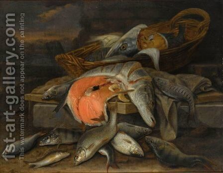 A Still Life With A Pike, A Piece Of Salmon In A Basket by Jacob Gillig - Reproduction Oil Painting