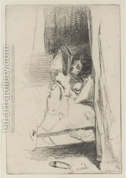 Reading In Bed by James Abbott McNeill Whistler - Reproduction Oil Painting