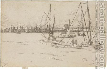 Amsterdam, From The Tolhuis by James Abbott McNeill Whistler - Reproduction Oil Painting