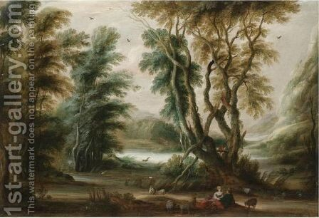A Wooded River Landscape With A Shepherd And Shepherdess Resting Their Flock by Gysbrecht Leytens - Reproduction Oil Painting