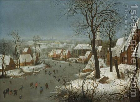 Winter Landscape With A Bird-Trap 2 by (after) Pieter The Younger Brueghel - Reproduction Oil Painting