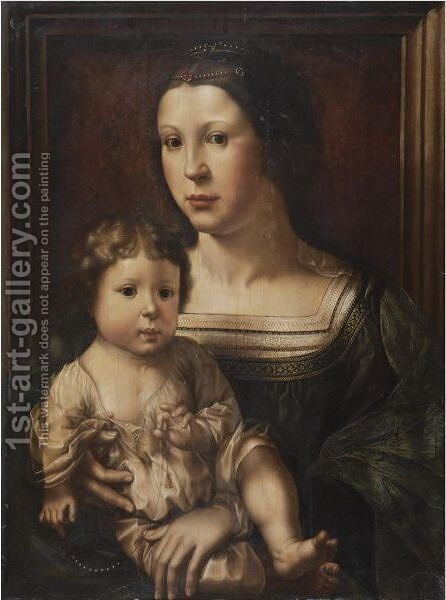 The Virgin And Child, Said To Be A Double Portrait Of Anna Van Bergen, Marquise De Veere, And Her Son by (after) Jan (Mabuse) Gossaert - Reproduction Oil Painting