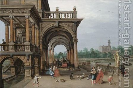 The Gardens Of A Palace, With Elegant Figures Strolling, Making Music And Playing Backgammon In A Loggia by Hendrick van, the Younger Steenwyck - Reproduction Oil Painting