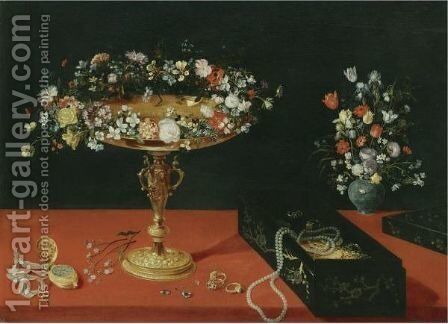 Still Life With A Garland Of Flowers On A Gold Tazza, A Box Of Jewellery, A Gold Pocket Watch And A Vase Of Flowers by (after) Jan The Elder Brueghel - Reproduction Oil Painting