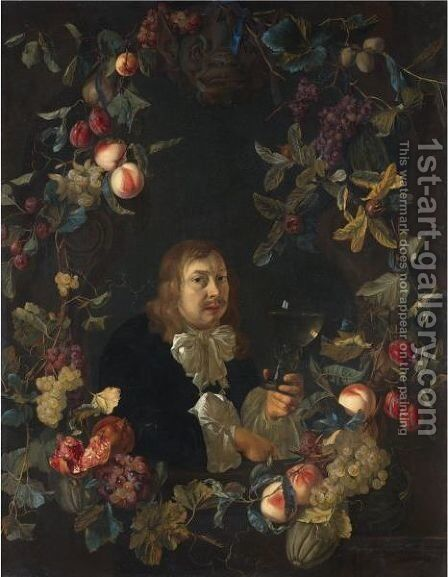 Portrait Of A Man, Possibly A Self-Portrait, Holding A Roemer Surrounded By A Garland Of Fruit Including Peaches, Grapes And Pomegranates by Abraham De Lust - Reproduction Oil Painting