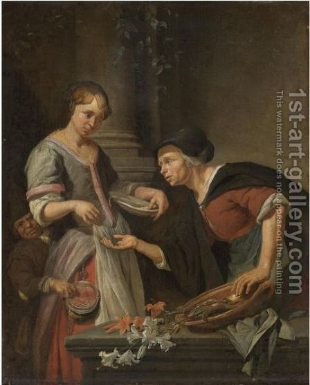 A Market Scene With A Young Lady Paying For Some Fish, A Boy Picking Her Purse Behind by Jacob Toorenvliet - Reproduction Oil Painting