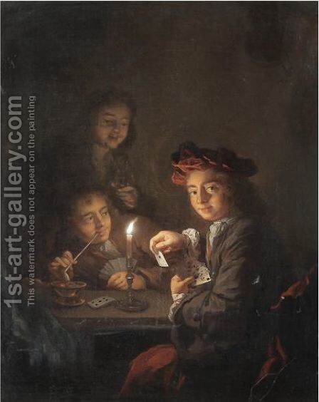 A Candlelit Interior With Boys Playing Cards by Arnold Boonen - Reproduction Oil Painting