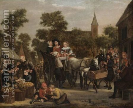 A Market Scene, With A Horse And Cart And Travellers Taking Refreshment by Jan Victors - Reproduction Oil Painting