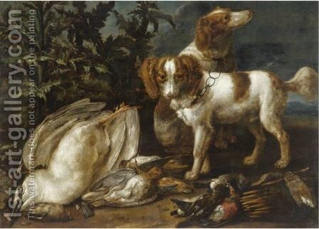 Still Life With Two Spaniels Together With Various Game And Songbirds by Jan van den Hecke - Reproduction Oil Painting