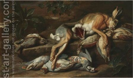 A Still Life With A Hare And Other Dead Game by Jacob van der (Giacomo da Castello) Kerckhoven - Reproduction Oil Painting