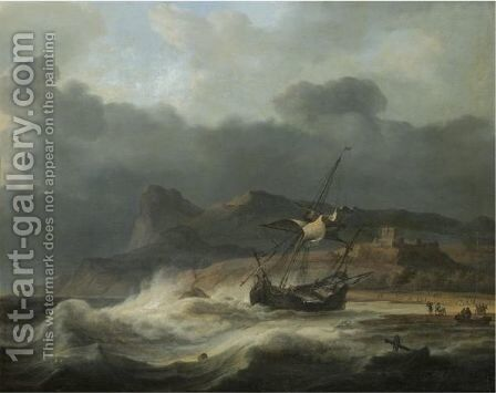 A Mountainous Coastal Landscape With A Ship Beached In A Storm, Figures Gathering Cargo To The Right by Aernout Smit - Reproduction Oil Painting