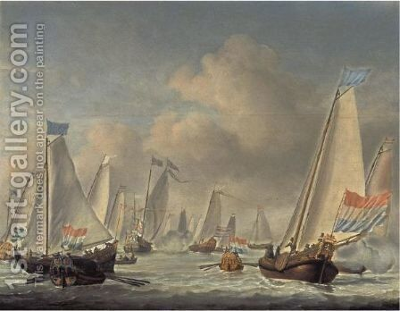 Dutch Bezan Yachts Sailing Around The Mary Yacht In A Moderate Breeze by (after) Willem Van De, The Younger Velde - Reproduction Oil Painting