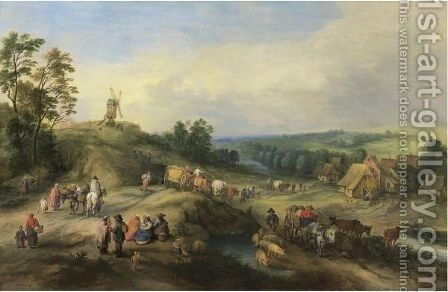 Landscape With Travellers And Waggons Approaching A Village by Theobald Michau - Reproduction Oil Painting