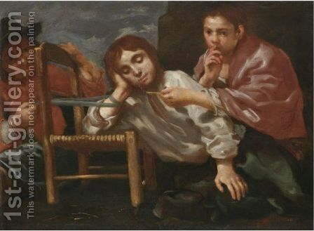 Two Children Playing A Practical Joke On A Sleeping Boy by Bernhard Keil - Reproduction Oil Painting