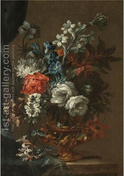 A Still Life With A Bouquet Of Flowers In A Bronze Urn On A Stone Ledge by (after) Jean Baptiste Belin De Fontenay - Reproduction Oil Painting